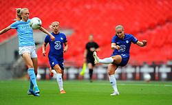 Caroline Weir of Manchester City Women blocks a shot from Guro Reiten of Chelsea Women- Mandatory by-line: Nizaam Jones/JMP - 29/08/2020 - FOOTBALL - Wembley Stadium - London, England - Chelsea v Manchester City - FA Women's Community Shield