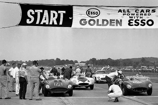Carroll Shelby on pole of 1956 SCCA race at Montgomery, NY, in Ferrari