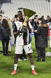May 19, 2019 - Turin, Turin, Italy - Blaise Matuidi of Juventus FC lifts the trophy of Scudetto  2018-2019 at Allianz Stadium, Turin (Credit Image: © Antonio Polia/Pacific Press via ZUMA Wire)