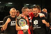 Boxing: Cruiserweight, WBO European Championship, Nuri Seferi (ALB) - Tamas Lodi (HUN), Hamburg, 16.05.2014<br /> Nuri Seferi (ALB) and coach Oktay Urkal (r.) celebrates<br /> ©Torsten Helmke