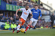 Blackpool Forward, Kyle Vassell (7) and Portsmouth Midfielder, Dion Donohue (17) during the EFL Sky Bet League 1 match between Portsmouth and Blackpool at Fratton Park, Portsmouth, England on 24 February 2018. Picture by Adam Rivers.