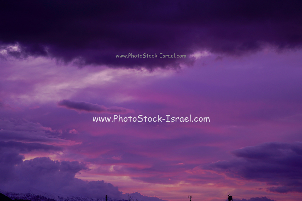 Dramatic sky and purple sunset Photographed in Chania, Crete, Greece