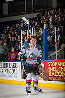 KELOWNA, CANADA - FEBRUARY 10: Nolan Foote #29 of the Kelowna Rockets salutes the crowd and accepts the first star of the game scoring three goals and earning his first WHL hat trick against the Vancouver Giants on February 10, 2017 at Prospera Place in Kelowna, British Columbia, Canada.  (Photo by Marissa Baecker/Shoot the Breeze)  *** Local Caption ***