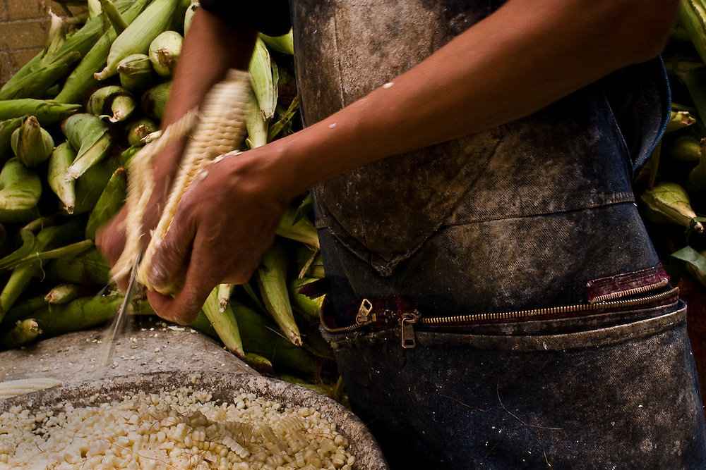 Corn is processed at Merced market in Mexico City.