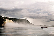 Hacha Falls in Canaima lagoon, Canaima National Park, Venezuela