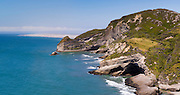Panoramic view of Pillar Point and the Farewell Spit beyond, from near Cape Farewell, near Puponga, New Zealand.
