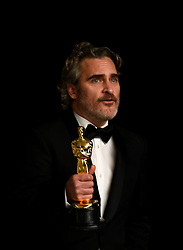 Joaquin Phoenix with his Best Actor Oscar for Joker in the press room at the 92nd Academy Awards held at the Dolby Theatre in Hollywood, Los Angeles, USA.