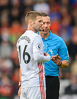Match referee Kevin Friend (right) chatting to Sheffield United's captain Oliver Norwood <br /> <br /> Photographer David Horton/CameraSport<br /> <br /> The Premier League - Bournemouth v Sheffield United - Saturday 10th August 2019 - Vitality Stadium - Bournemouth<br /> <br /> World Copyright © 2019 CameraSport. All rights reserved. 43 Linden Ave. Countesthorpe. Leicester. England. LE8 5PG - Tel: +44 (0) 116 277 4147 - admin@camerasport.com - www.camerasport.com