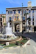 Fountain in plaza, Ayuntamiento town hall, Pego, Marina Alta, Alicante province, Spain