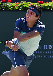 March 16, 2019 - Indian Wells, CA, U.S. - INDIAN WELLS, CA - MARCH 15: Milos Raonic (CAN) in action in the first set of a semifinals match played during the BNP Paribas Open at the Indian Wells Tennis Garden in Indian Wells, CA.  (Photo by John Cordes/Icon Sportswire) (Credit Image: © John Cordes/Icon SMI via ZUMA Press)