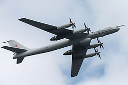 July 28, 2017 - Saint Petersburg, Russia - A Tupolev Tu-142 maritime reconnaissance and anti-submarine warfare aircraft take part in a rehearsal of the upcoming Russian Navy Day military parade. (Credit Image: © Igor Russak/NurPhoto via ZUMA Press)
