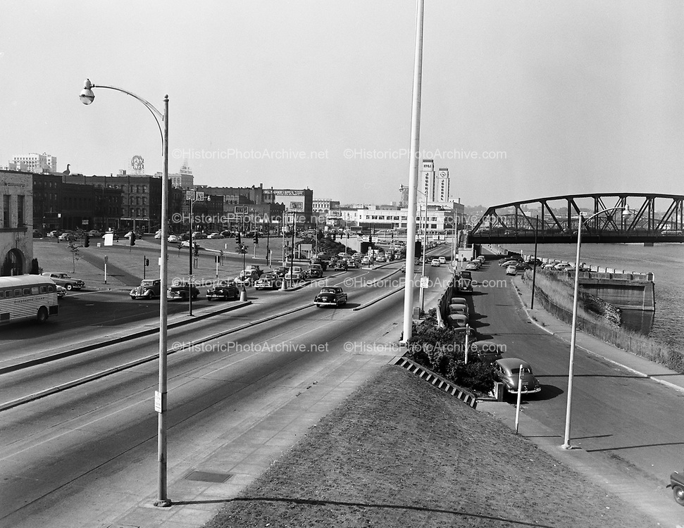 Y-510713-02.  Harbor drive looking north. Hawthorne Bridge & underpass. From end of Seawall. About where the Waterfront Bowl is today. July 13, 1951.