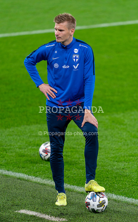 CARDIFF, WALES - Tuesday, November 17, 2020: Finland's Juhani Ojala during a training session at the Cardiff City Stadium ahead of the UEFA Nations League Group Stage League B Group 4 match between Wales and Finland. (Pic by David Rawcliffe/Propaganda)