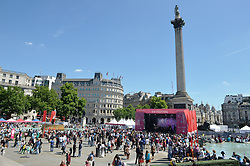 A general view of the crowd enjoying the day during the Eid Festival in Trafalgar Square, London.