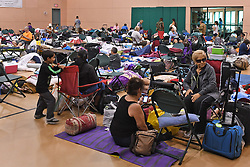 People seek shelter from Hurricane Irma with their pets at the West Boynton Park and Recreation Center in Boynton Beach, FL, USA., on Saturday, September 9, 2017. Photo by Jim Rassol/Sun Sentinel/TNS/ABACAPRESS.COM