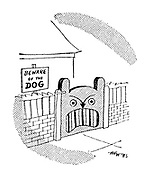 "(A garden with the sign ""beware of the dog"" has a gate shaped like a snarling dog)"