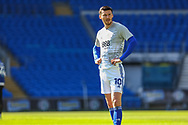 Cardiff City's Kieffer Moore (10) during the pre-match warm-up before the EFL Sky Bet Championship match between Cardiff City and Nottingham Forest at the Cardiff City Stadium, Cardiff, Wales on 2 April 2021.