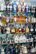 Bottles of Scotch Whisky on display for sale at famous Manual Tavores shop in Rua de Betesga, Praca de Figueira in Lisbon, Portugal
