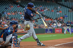 March 26, 2018 - Houston, TX, U.S. - HOUSTON, TX - MARCH 26: Milwaukee Brewers outfielder Ryan Braun (8) makes good contact during the game between the Milwaukee Brewers and Houston Astros at Minute Maid Park on March 26, 2018 in Houston, Texas. (Photo by Ken Murray/Icon Sportswire) (Credit Image: © Ken Murray/Icon SMI via ZUMA Press)