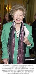 Actress DULCIE GRAY at a luncheon in London on 24th April 2002.OZI 46