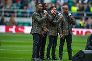 Twickenham, England, 7th March 2020, Fox Fortura perform the National Anthem, pre-game entertainment, Guinness Six Nations, International Rugby, England vs Wales, RFU Stadium, United Kingdom, [Mandatory Credit; Peter SPURRIER/Intersport Images]