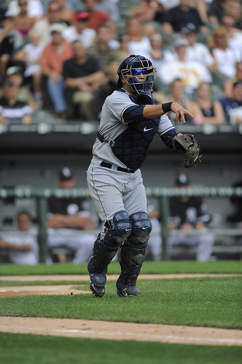 CHICAGO - AUGUST 23:  Dioner Navarro #30 of the Tampa Bay Rays throws to first base during the game against the Chicago White Sox at U.S. Cellular Field in Chicago, Illinois on August 23, 2008.  The Rays defeated the White Sox 5-3.  (Photo by Ron Vesely)