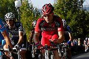 France, October 10 2010: A BMC RACING TEAM (BMC) rider on the Côte de l'Epan during the 2010 Paris Tours cycle race.  Copyright 2010 Peter Horrell