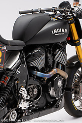 RSD Race Chief , a Hooligan road racer style, Indian Chief Dark Horse, built by Roland Sands.  Photographed by Michael Lichter in Sturgis, SD. August 5, 2021. ©2021 Michael Lichter