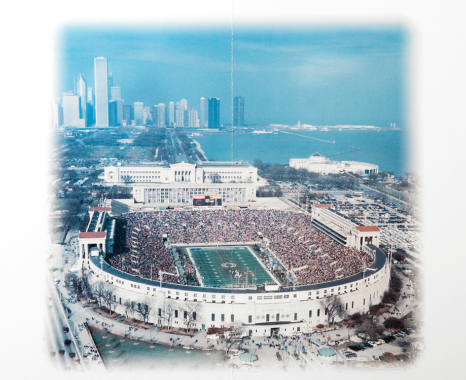 Photo from poster commemorating Yale Vs. Valparaiso Soldier Field Friday, October 3, 1997<br /> This photo is NOT from that game as the game was played at 8pm after sunset.