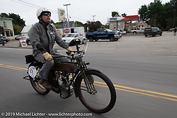 Chris Tribbey rode his 1911 Excelsior model-K single cylinder class-1 bike in the Motorcycle Cannonball coast to coast vintage run. Stage-1 (145-miles) from Portland, Maine to Keene, NH. Saturday September 8, 2018. Photography ©2018 Michael Lichter.