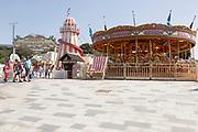 Traditional vintage fairground rides, Pier Approach, Bournemouth, Dorset, England, UK