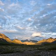 Early morning light hits the Brooks Range in the Arctic National Wildlife Refuge, Alaska.
