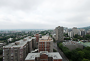 Aerial rooftop view of Montreal from 1600 René Levesque West, Ville Marie, Montreal, Quebec, Canada