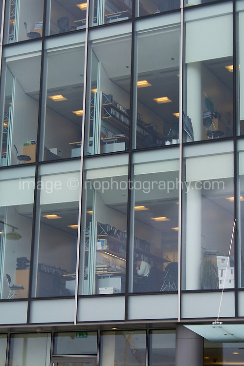 Office block interiors on view from exterior in Dublin, Ireland