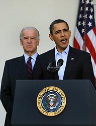 "File photo dated March 7, 2010 of U.S. President Barack Obama makes a statement regarding the Iraqi parliamentary elections, as Vice President Joe Biden listens, in the ose Garden at the White House in Washington, DC, USA, USA. Pool Former President Barack Obama endorsed Joe Biden, his two-term vice president, on Tuesday morning in the race for the White House. ""Choosing Joe to be my vice president was one of the best decisions I ever made, and he became a close friend. And I believe Joe has all the qualities we need in a president right now,"" Obama said in a video posted to Twitter. Photo by Mike Theiler/ABACAPRESS.COM"