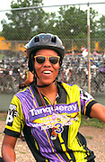 Woman bicycle rider age 25 at overnight rest stop. Aids Ride Minneapolis to Chicago Wabasha Minnesota USA