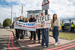 London, UK. 7 September, 2019. Activists take part in a sixth day of Stop The Arms Fair protests outside ExCel London against DSEI, the world's largest arms fair. The sixth day of protests was billed as a Festival of Resistance and included performances, entertainment for children and workshops as well as activities intended to disrupt deliveries to ExCel London for the arms fair.