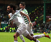 16.03.2013 Glasgow, Scotland. Georgios Samaras and Mikael Lustig celebrate the winning goal  during the Clydesdale Bank Premier League match between, Celtic and Aberdeen, from Celtic Park Stadium.