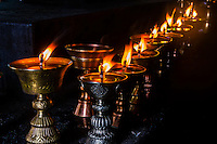 Yak butter lamps, Stok Monastery, Leh Valley, Ladakh, Jammu and Kashmir State, India.