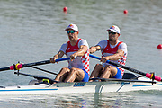 Plovdiv, Bulgaria, 10th May 2019, FISA, Rowing World Cup 1,  Start Area, CRO M2-, Bow, Martin SINKOVIC and Valent SINKOVIC,  at the Start,[© Peter SPURRIER]