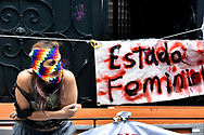 MEXICO CITY, MEXICO - SEPTEMBER 6: During a protest, women seize the facilities of the organization who supposedly should defend human rights, due the victims' cases have not been solved, feminist groups take the facilities of the Human Rights Commission (CNDH) to use it as shelter for victims of gender - violence and fight for her rights On September 6, 2020 in Mexico City, Mexico