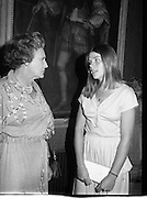 09/08/1979.08/09/1979.9th August 1979.Opening of Irish Patchwork exhibition and Presentation of the Young Designer Awards at Kilkenny Castle. Lady Valerie Goulding, wife of the Chairman of Kilkenny Design Workshops, Sir Basil Goulding, chatting with Catherine MacAleavey, winner of the Young Designer Award.