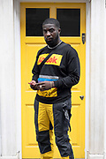 Grammy-nominated music producer Mike Scribz Riley wearing a black and yellow Kodak jumper on the 16th September 2019 in London in the United Kingdom.