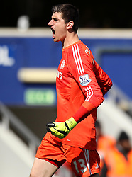 Chelsea's Thibaut Courtois celebrates Chelsea's Cesc Fabregas' late winner - Photo mandatory by-line: Robbie Stephenson/JMP - Mobile: 07966 386802 - 12/04/2015 - SPORT - Football - London - Loftus Road - Queens Park Rangers v Chelsea - Barclays Premier League