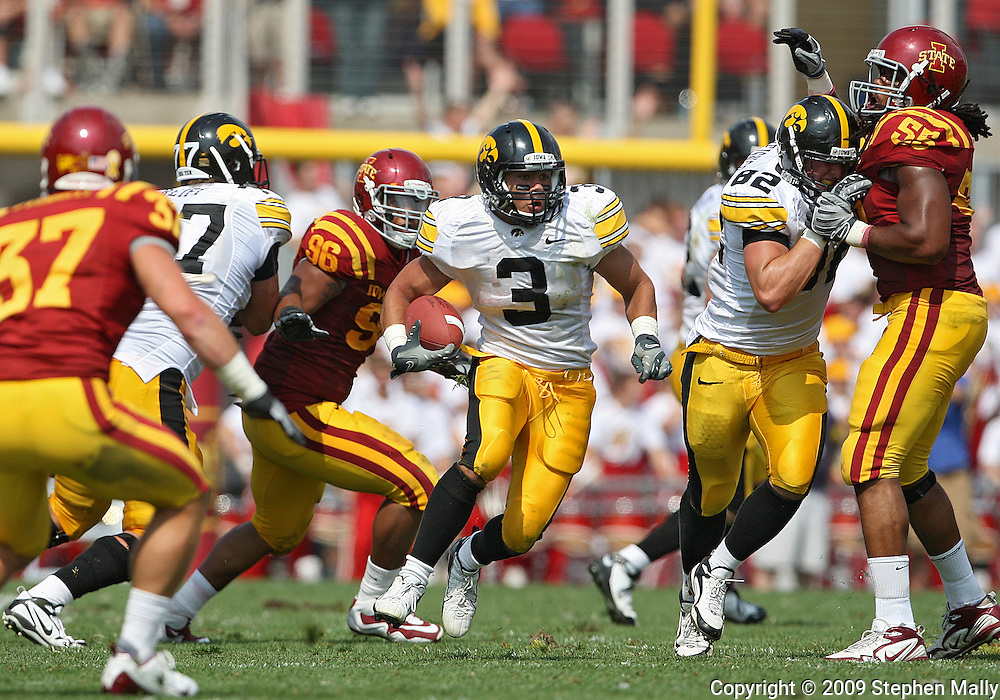 September 12, 2009: Iowa running back Brandon Wegher (3) in the fourth quarter of the Iowa Hawkeyes' 35-3 win over the Iowa State Cyclons at Jack Trice Stadium in Ames, Iowa on September 12, 2009.