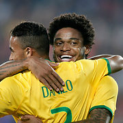Brazil's Willian (R) celebrate his goal with team mate during their a international friendly soccer match Turkey betwen Brazil at Sukru Saracoglu Arena in istanbul November 12, 2014. Photo by Aykut AKICI/TURKPIX