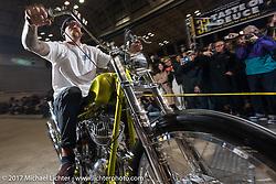 Joe Keravan's Grand Entry to the 26th Annual Yokohama Hot Rod and Custom Show 2017. Yokohama, Japan. Sunday December 3, 2017. Photography ©2017 Michael Lichter.