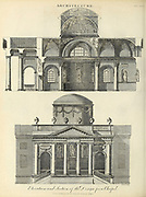 Elevation and section for a design of a chapel. Copperplate engraving From the Encyclopaedia Londinensis or, Universal dictionary of arts, sciences, and literature; Volume II;  Edited by Wilkes, John. Published in London in 1810