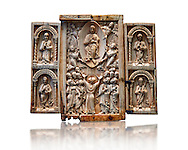 Medieval ivory Triptych relief panel depicting the Ascension, end of 11th cent. AD. Inv OA 6340, The Louvre Museum, Paris. .<br /> <br /> If you prefer you can also buy from our ALAMY PHOTO LIBRARY  Collection visit : https://www.alamy.com/portfolio/paul-williams-funkystock/romanesque-art-antiquities.html . Type -   Louvre   - into the LOWER SEARCH WITHIN GALLERY box. Refine search by adding background colour, place, museum etc<br /> <br />  Visit our MEDIEVAL PHOTO COLLECTIONS for more   photos  to download or buy as prints https://funkystock.photoshelter.com/gallery-collection/Medieval-Romanesque-Art-Antiquities-Historic-Sites-Pictures-Images-of/C0000uYGQT94tY_Y