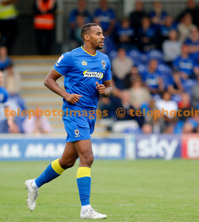 AFC Wimbledon's Tyrone Barnett seen during the Sky Bet League 1 match between AFC Wimbledon and Shrewsbury Town at the Cherry Red Records Stadium in Kingston. September 24, 2016.<br /> Carlton Myrie / Telephoto Images<br /> +44 7967 642437